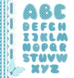 Retro scrapbook font blue color vector image