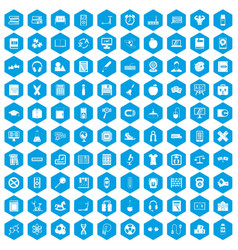 100 learning kids icons set blue vector image