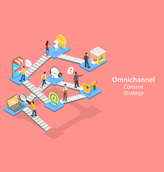 3d isometric flat concept cross-channel vector image