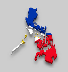 3d isometric map philippines with national flag vector image