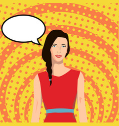 a girl in the style of pop art with a speech bubbl vector image