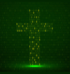 Abstract sign coss binary code with neon light vector