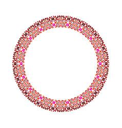 Abstract stone mosaic frame - round circular vector