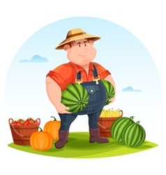 Agrarian or agricultural farmer in field vector