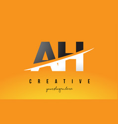 Ah a h letter modern logo design with yellow vector