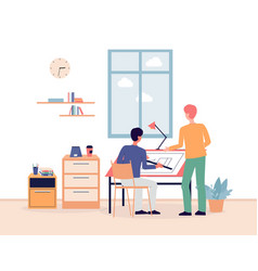 architectural agency with people working on vector image