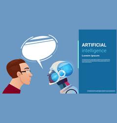 Artificial intelligence man communication vector