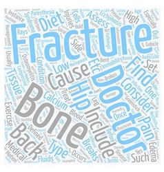 Back pain and fractures text background wordcloud vector