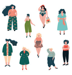 Beautiful plus size curved women set plump girls vector