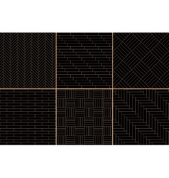 Black and golden simple geometric parquet floor vector image