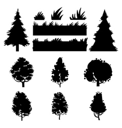 black trees and grass silhouettes vector image