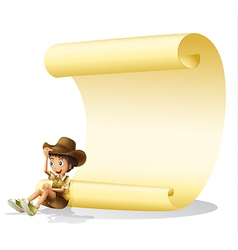 Boy and scroll vector image