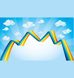 bright rainbow and clouds vector image