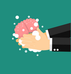 businessman wash and cleaning brain vector image