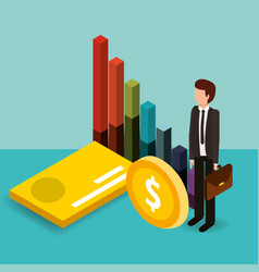 businessman with bank card coin and chart money vector image
