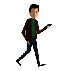 Businessman with smartphone avatar character icon vector