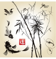 Card with bamboo in the bird and fish vector image