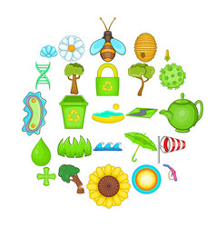 care of nature icons set cartoon style vector image