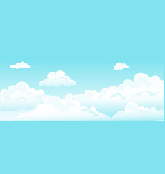 cartoon blue sky and curly clouds white vector image