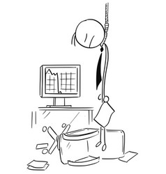 Cartoon of hanged business man who commit suicide vector