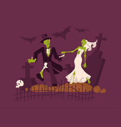 Cheerful dead bride and groom vector