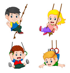 collection of children playing swing vector image