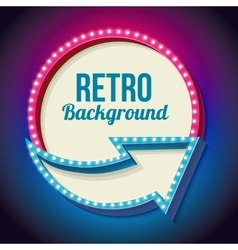 Colorful retro sign with lights vector