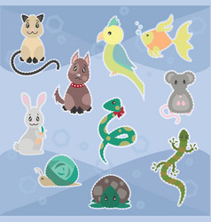 colorful sketch nice pets collection vector image