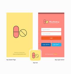 Company medicine splash screen and login page vector