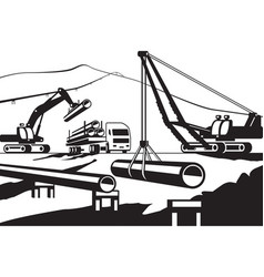 construction of above ground pipeline vector image