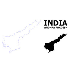 Contour dotted map andhra pradesh state vector