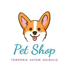 corgi dog logo vector image