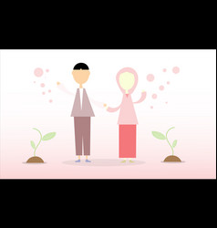 Couple muslim people vector