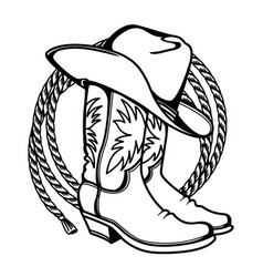 Cowboy boots and western hat and lasso vector