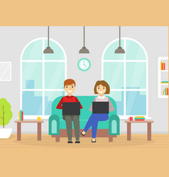 coworking space with people sitting sofa vector image