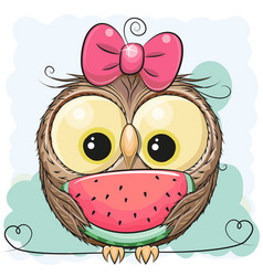 Cute cartoon owl girl with watermelon vector