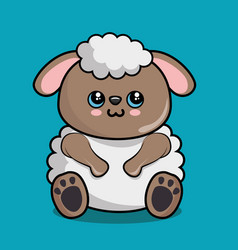 Cute sheep character kawaii style vector