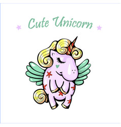 cute with pegasus isolated vector image