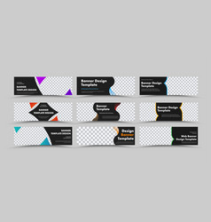 design horizontal black web banners vector image