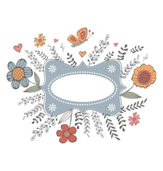 Elegant spring card with a frame flowers and vector image