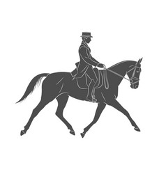 Equestrian sport jockey in uniform riding horse vector
