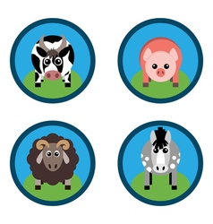 Farm animals Horse sheep pig and cow on the grass vector