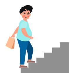 Fat young man climb up the stairs vector