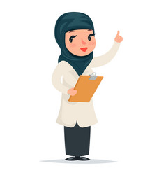 Female girl cute arab doctor with clipboard in vector