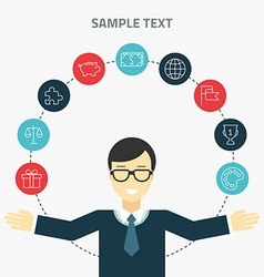 Flat design concept of businessman management or vector image
