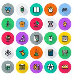 Flat icon collection school education vector