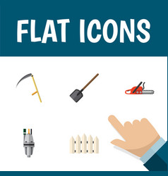 Flat icon farm set of wooden barrier pump shovel vector