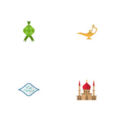 flat icons genie malay arabic calligraphy and vector image vector image