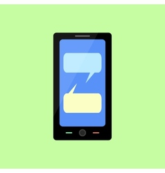 Flat style smart phone with chat bubbles vector