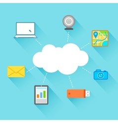 Flat Technology Design of Cloud Computing vector